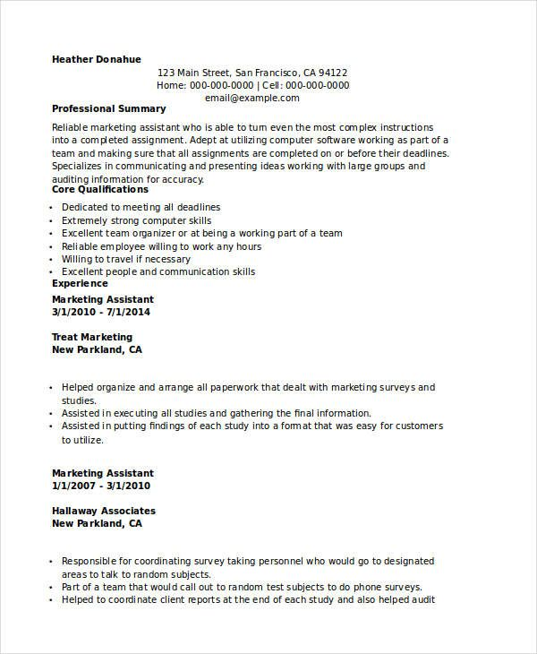 Marketing Executive Assistant Resume , Marketing Resume Samples - marketing assistant resume sample