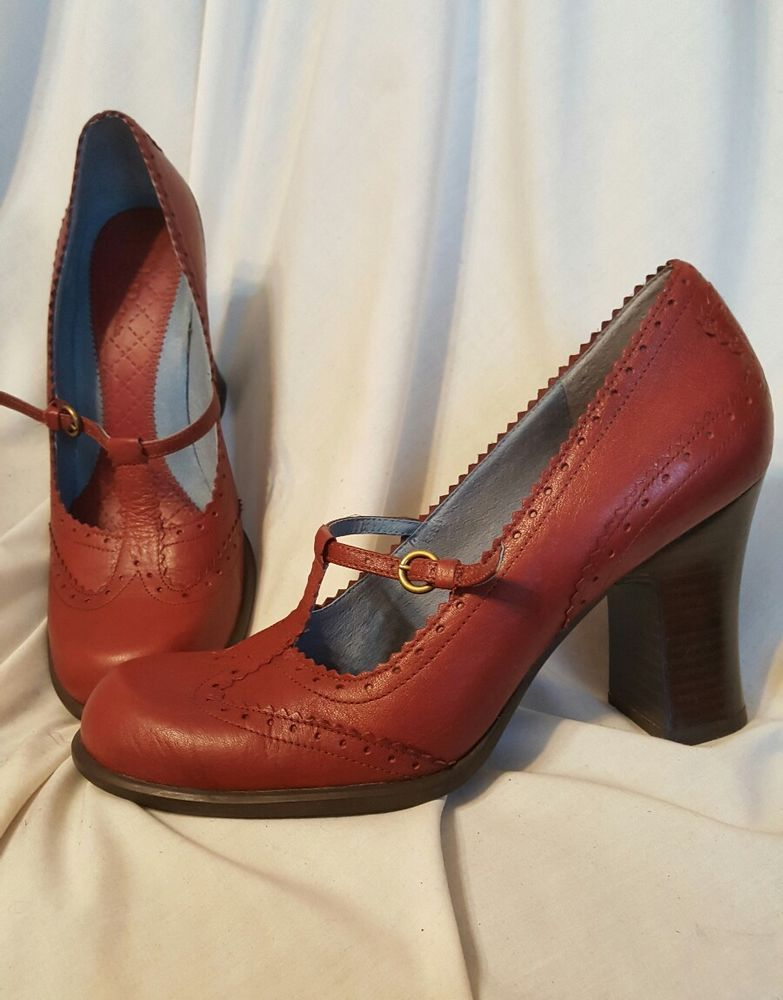 416c298d17796 Indigo by Clarks womens shoes sz 9 M Red leather heels round toe ...