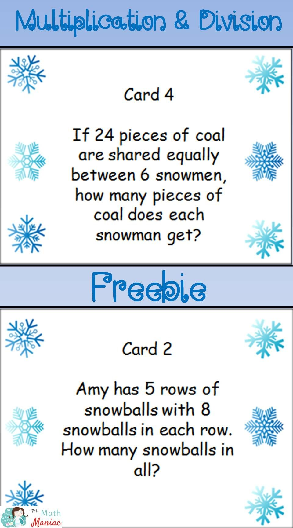 winter themed multiplication and division word problem task cards free preview tpt free. Black Bedroom Furniture Sets. Home Design Ideas
