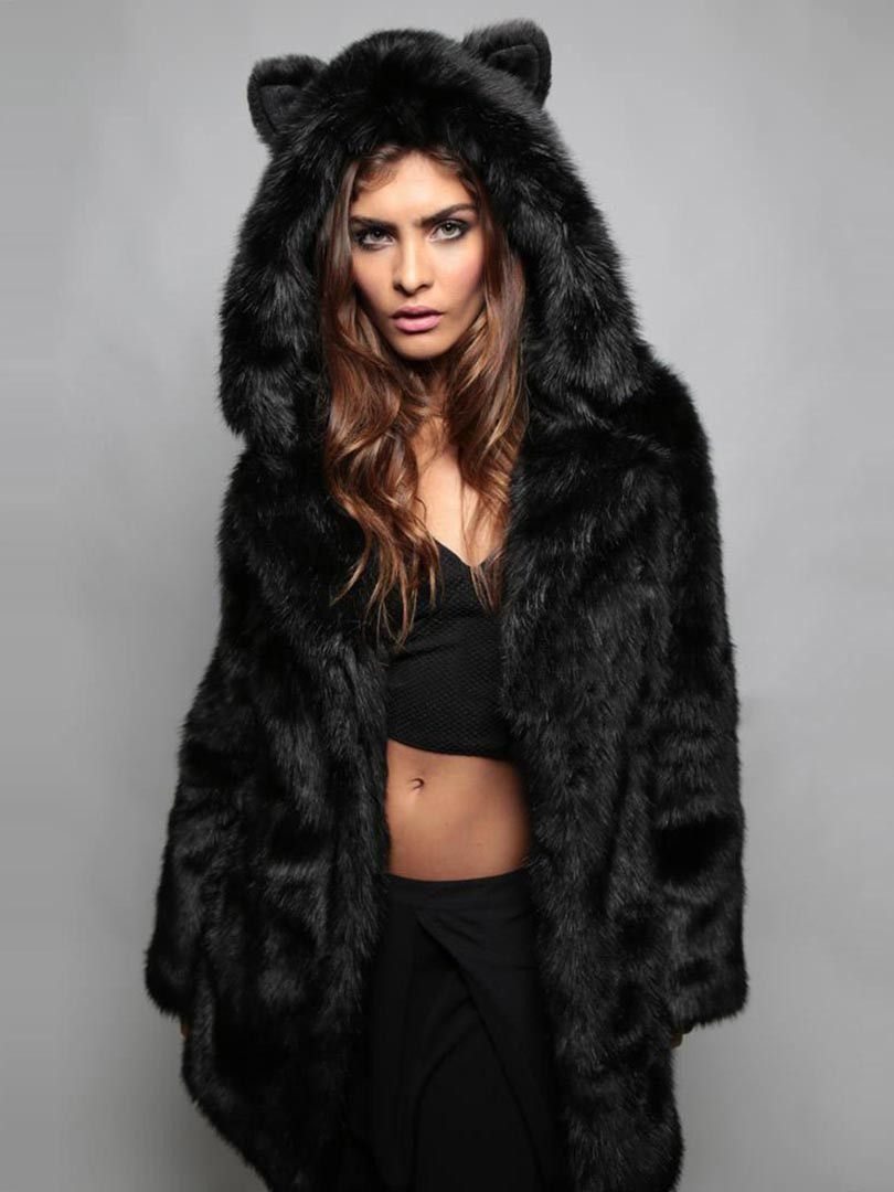 90e06eaa2e37 Black Cat Ear Detail Hooded Faux Fur Coat