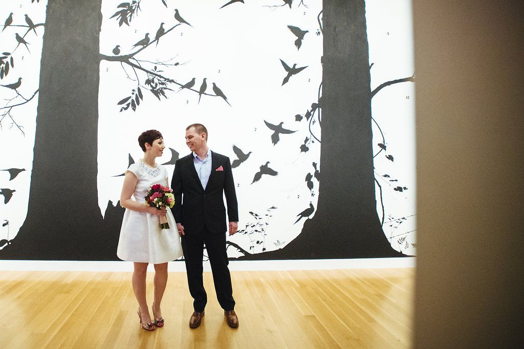 Taylor & Nate's modern pop-up elopement wedding at art gallery in Washington DC | Images: Pop Wed Co