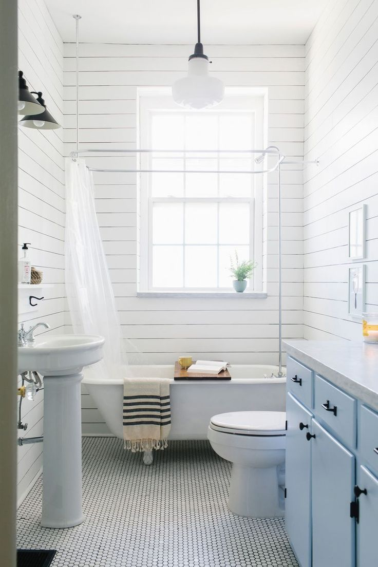 All white bathroom with ship lap | At Home: Bathrooms | Pinterest ...