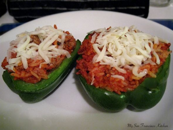 Stuffed pepper halves - I've been known to use Rice-A-Roni instead of just plain or Zataran's.  www.mysnfrancisokitchen.com