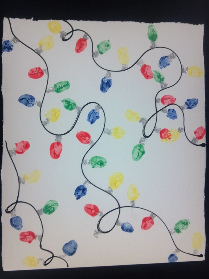Fingerprint Christmas lights my class done.