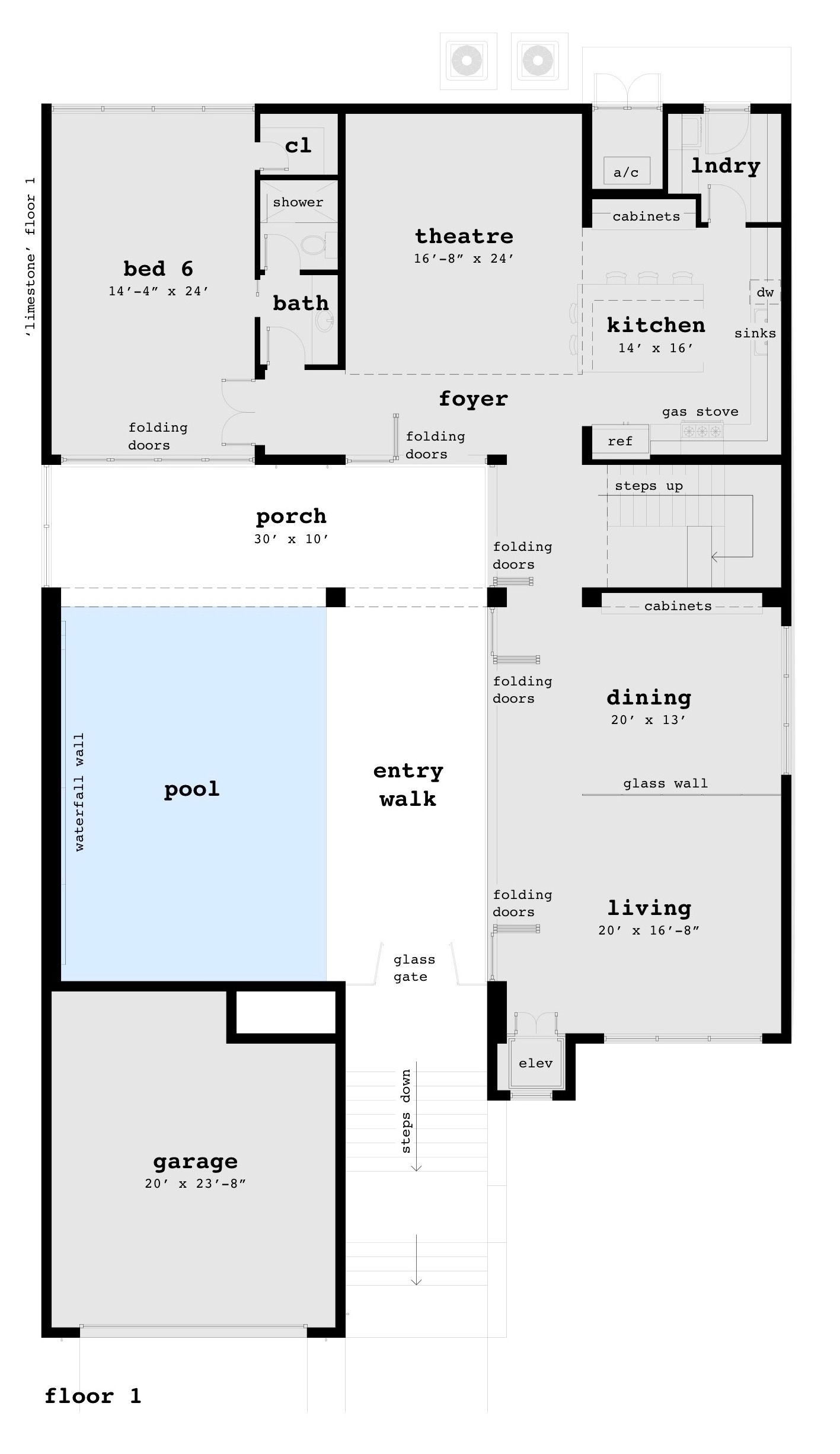 Large Modern With Waterfall Wall 6 Bedrooms Tyree House Plans Limestone House House Plans Modern House Plans