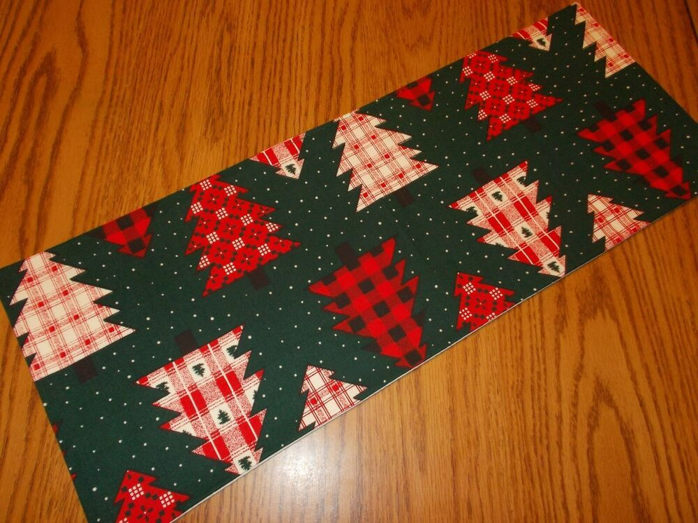 Christmas Plaid Trees Dots Holiday Green Mini Table Runner