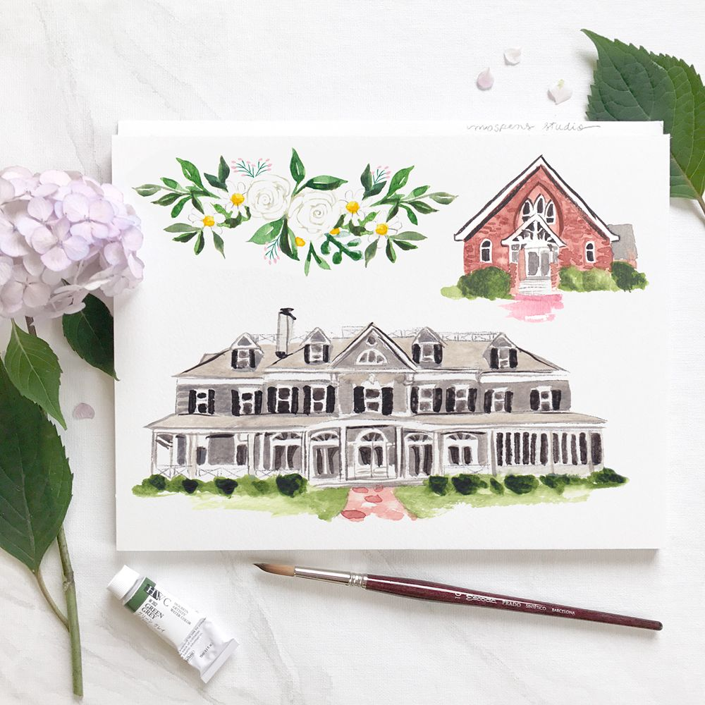Hand-painted Illustrations For A New York Wedding By