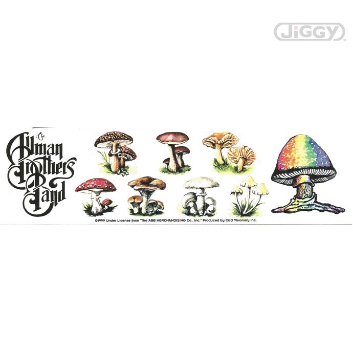 Allman brothers sticker with a strip various colorful psychedelic mushrooms measures 8 x 2