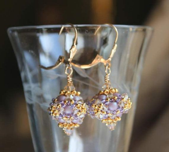 Hand Beaded Lavender and Gold Bead earrings With gold by pjlacasse