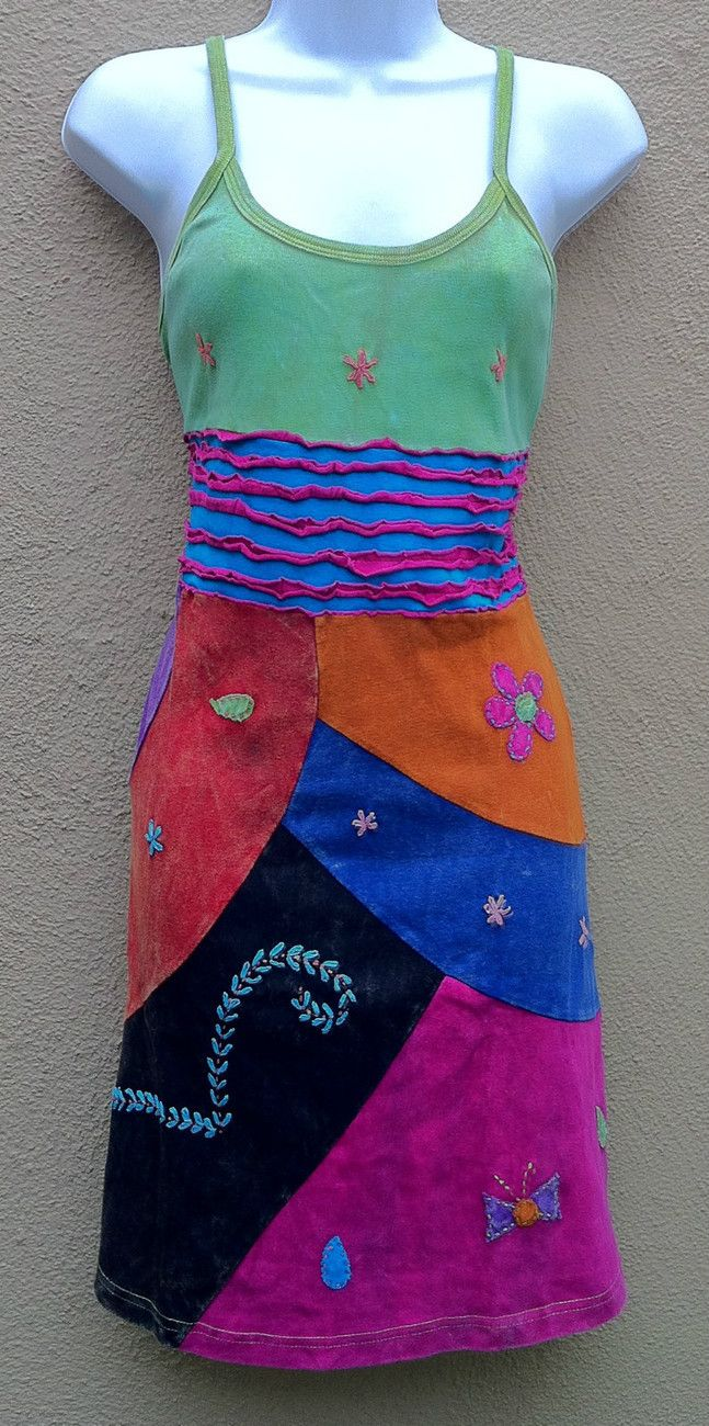 Boho Hand Sun Patchwork Textajlat Hippy Made Dress Hippie Gypsy qXrqO