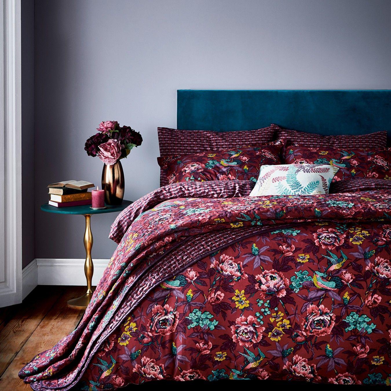 Dark red cotton 'Oriental Peony' bedding set Bedding
