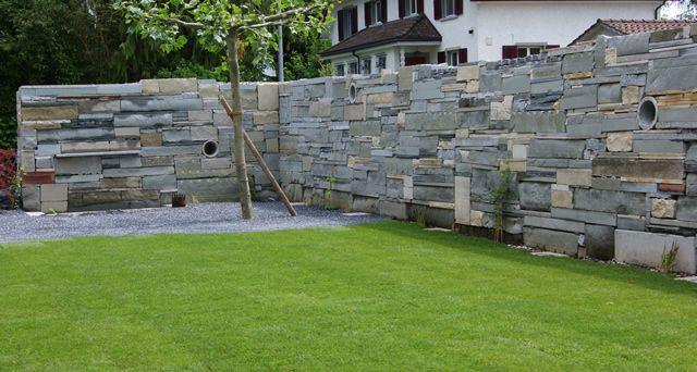 steinmauer garten sichtschutz – greengrill, Hause und garten