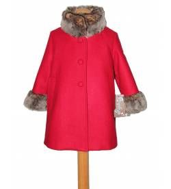 Abrigo Rojo Con Bocamanga Y Cuello De Pelo Coat Fashion Raincoat