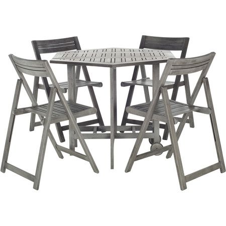 Gather family and friends on your three-season porch or in the sunroom with this acacia wood dining set, featuring slatted acacia wood designs and a grey was...