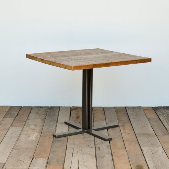 Small Wood Table With Hand Welded Square Steel Pedestal Base Etsy Cafe Tables Wood Pedestal Pedestal Table