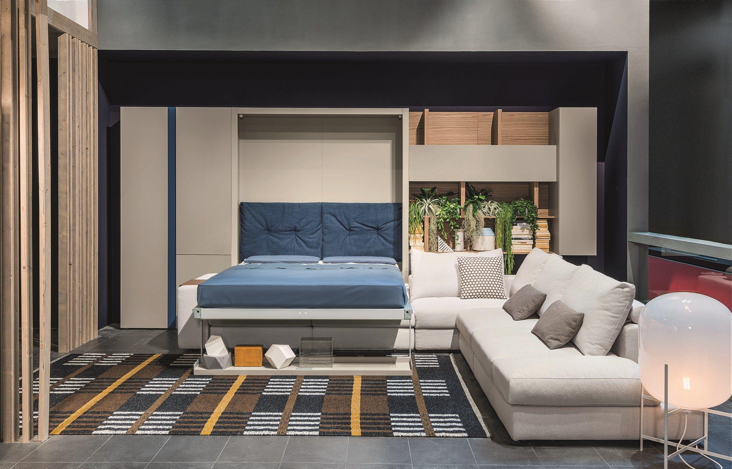 Wallmounted lacquered storage wall with corner sofa TANGO