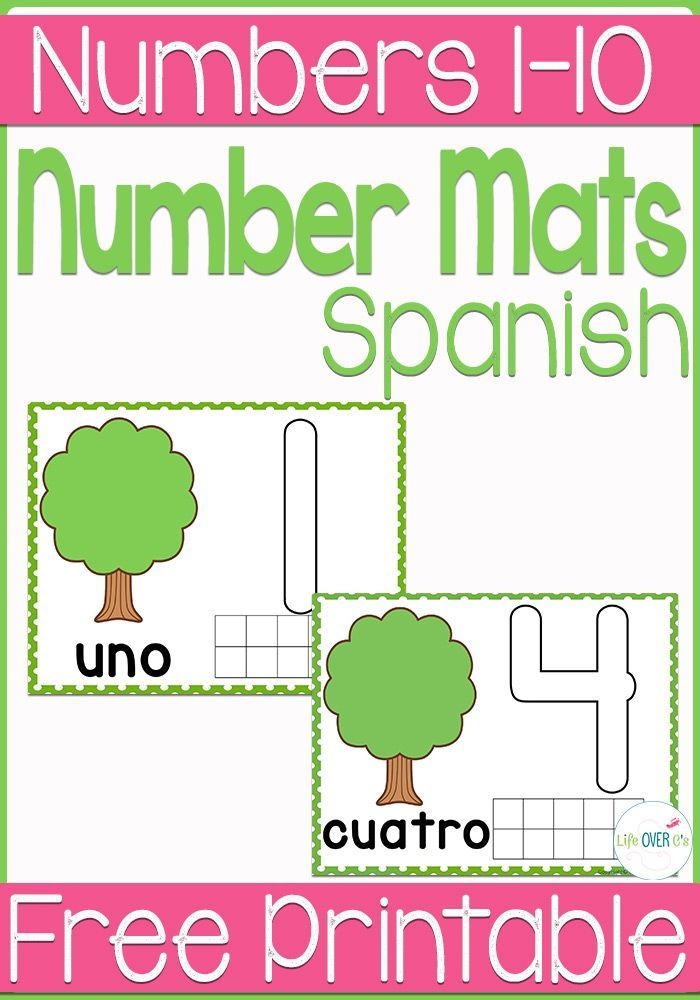 Free Play Dough Tree for Counting 110 Spanish is part of Preschool spanish, Learning spanish, Spanish math, Spanish worksheets, Spanish basics, Kindergarten math activities - Wow! The play dough tree mats that I made for counting from 110 a couple weeks ago have become so popular! I hope that you all are enjoying using them! Sunday, I received an email from one of you requesting the play dough mats in Spanish  I confess, Spanish is not my strong suit  (Something to do