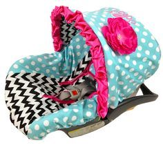for a girl chevron infant car seat cover with bling and hot pink floral on canopy and they have one to match her room