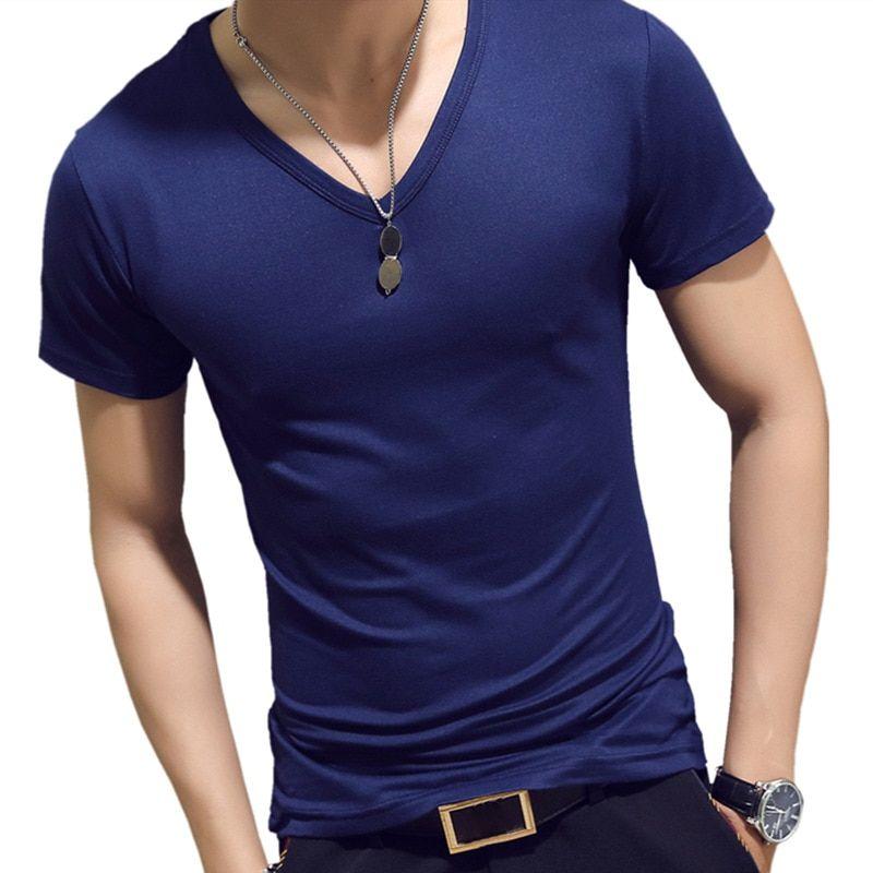 ff53f8a10950 Elastic V Neck Men T Shirt Mens Fashion Short Sleeve Tshirt Fitness Casual Male  T-shirt 2018 Brand Clothing Tee Tops 5XL 8J0129(China)