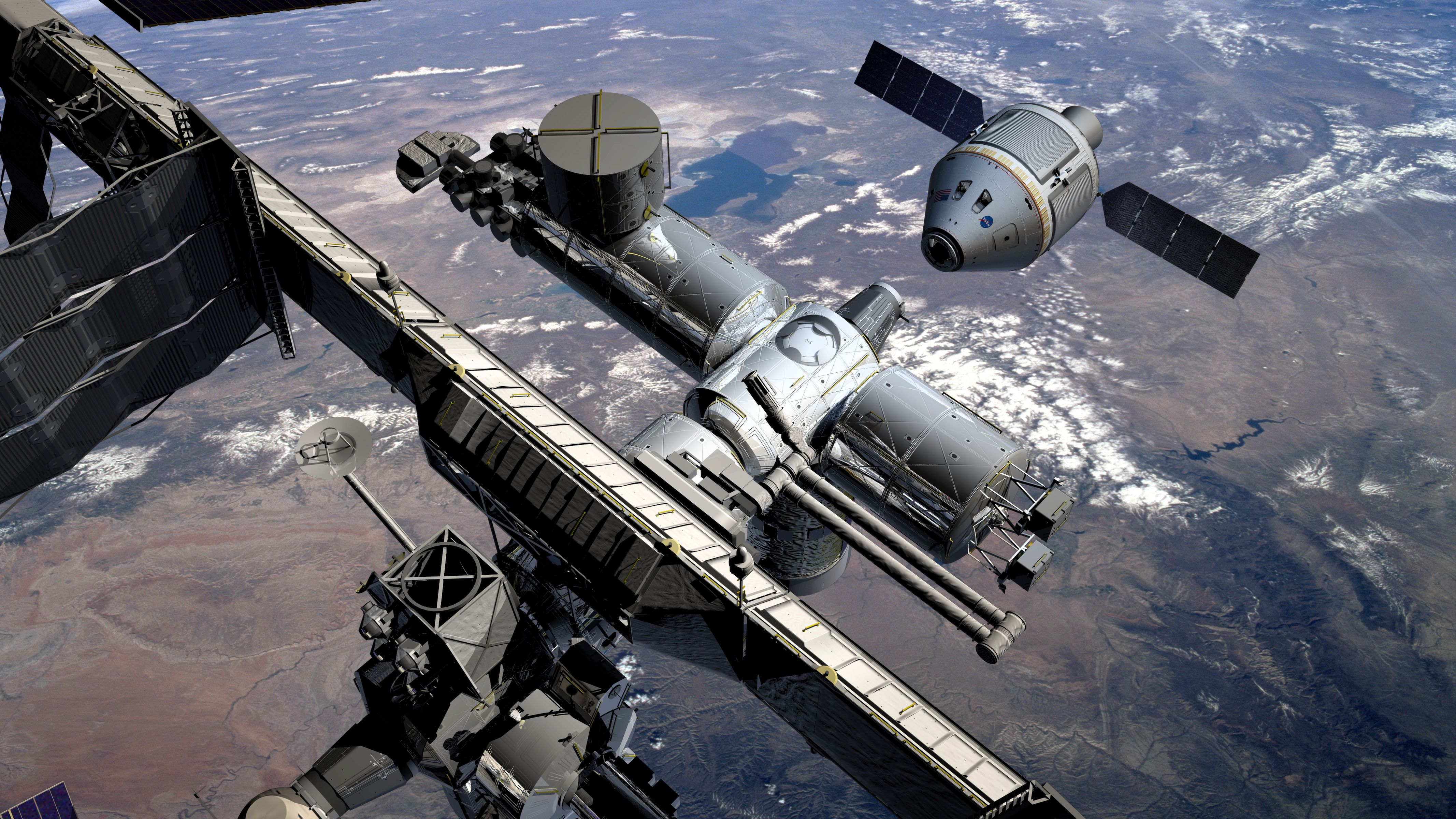 Iss Open Space Space Station Orbit Cosmos Planet Earth Life