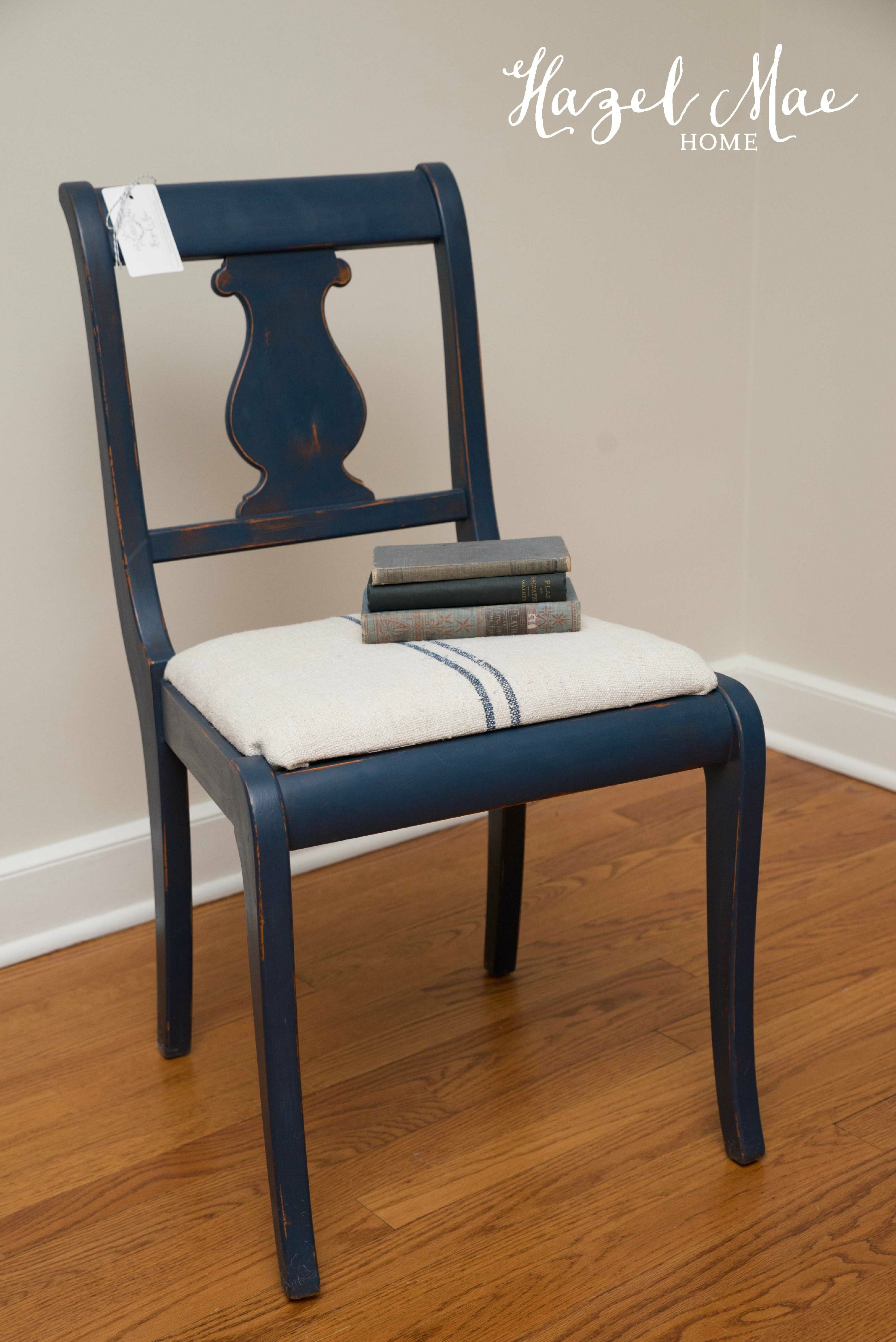 Custom Navy Chair using Annie Sloan Napoleonic Blue and Graphite