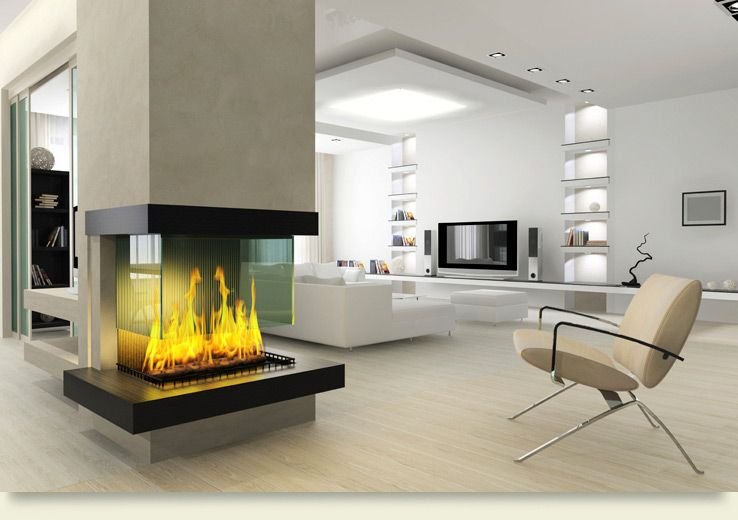 Minimalist living room design with a ventless fireplace Beautiful