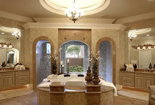 master bath oversized tub his and hers walk in closets mediterranean luxury coastal house plan florida - Designs Chatham Home Medeteriann