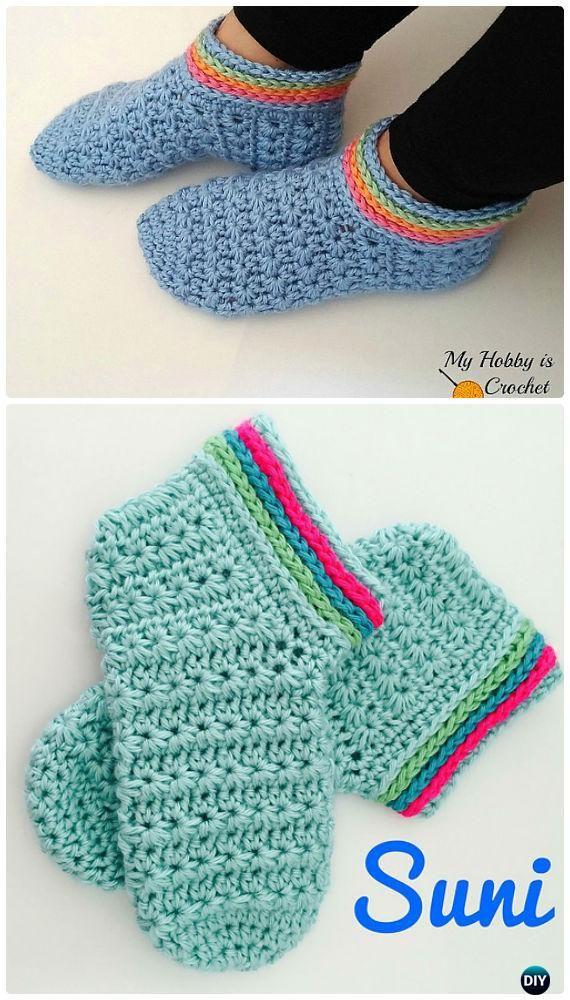 Crochet Women Slippers Free Patterns | Zapatos tejidos, Agujas de ...