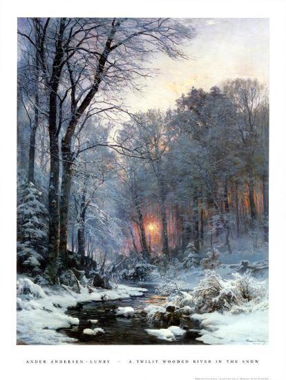 Twilit bewaldeter Fluss im Schnee Poster von Anders Andersen-Lundby
