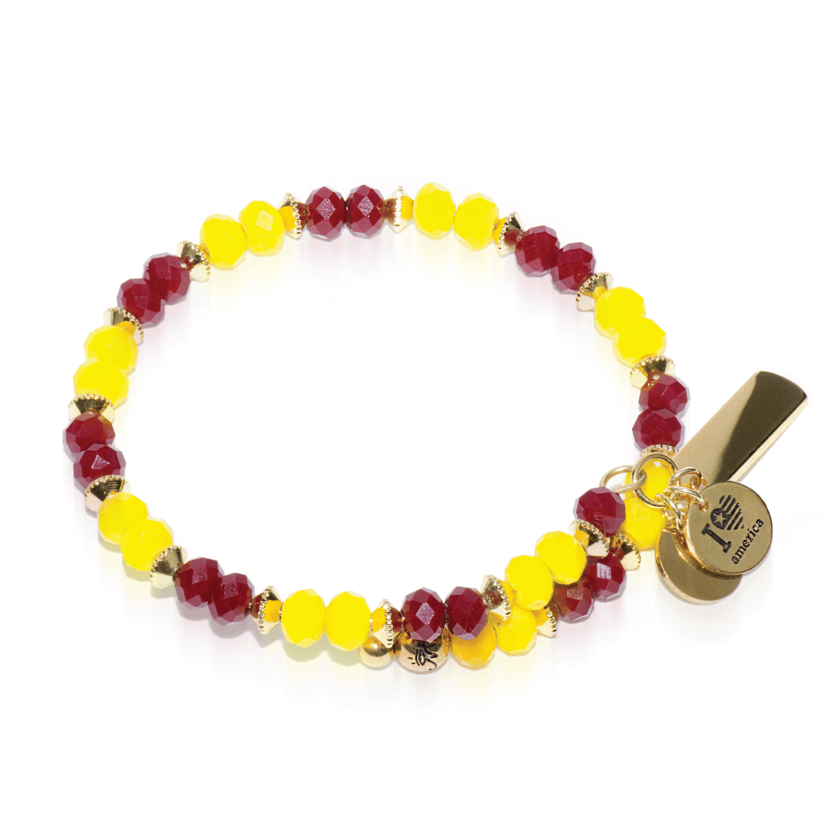 Gold, Red & Yellow Crystal Bangle - Red & Yellow glass crystal with gold finished Laurelian stainless steel bar. Engraving options available. See more at: http://www.josephnogucci.com/products/gold-red-yellow-crystal-bangle-bracelet