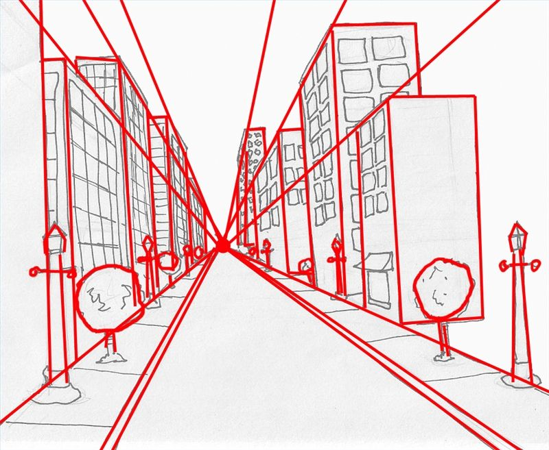 You can easily draw space by using a vanishing point. All the lines ...
