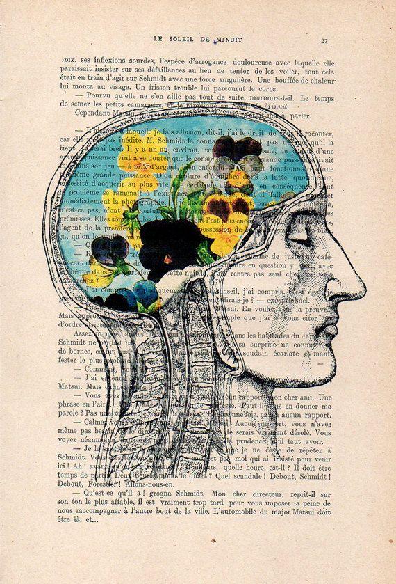 Anatomy Print Of Skull With Flowers Botanic Illustration Vintage