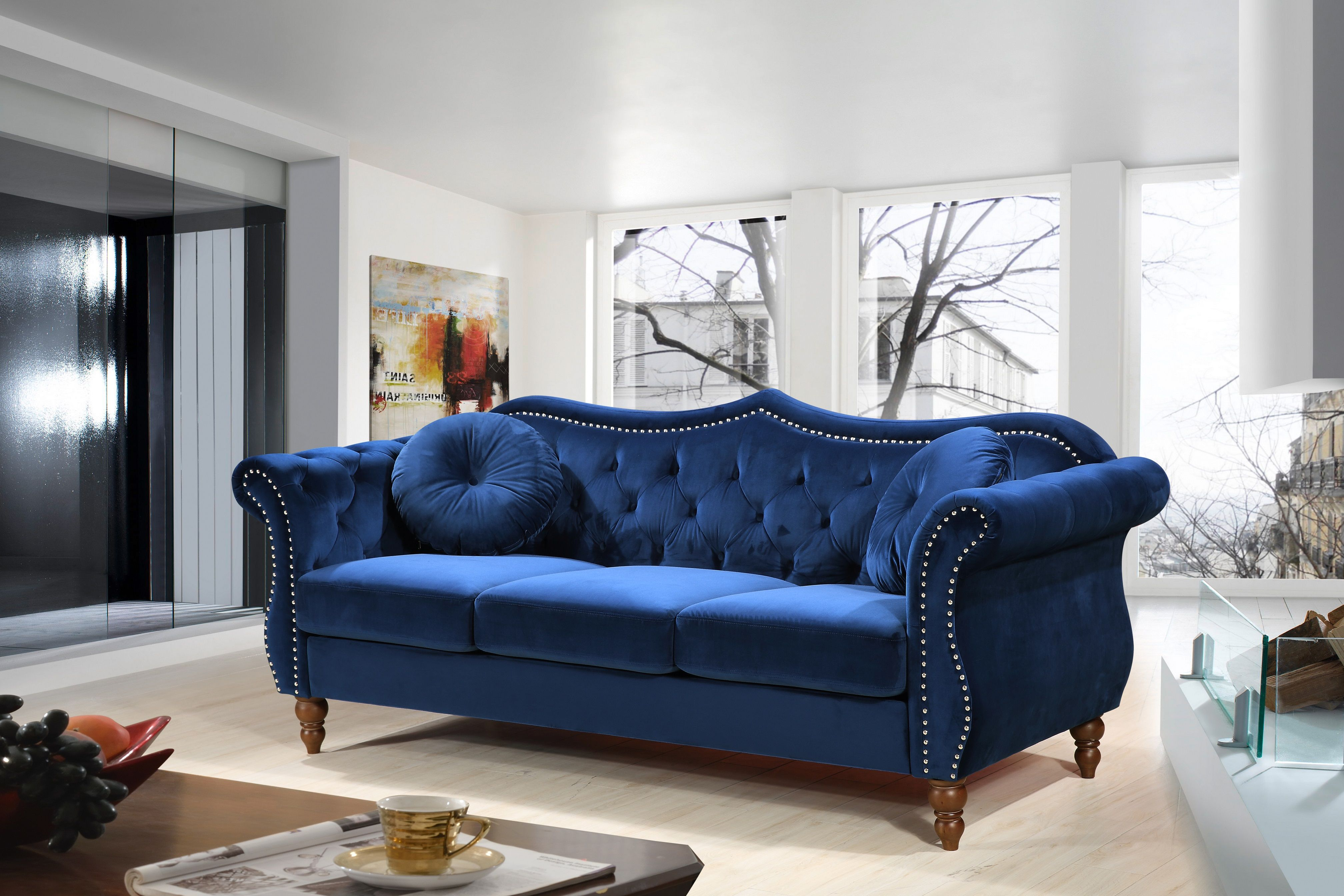 Us Pride Furniture Carbon Classic Nail Head Chesterfield Living Room Sofa Blue Walmart Com In 2021 Blue Sofas Living Room Blue Living Room Decor Chesterfield Living Room