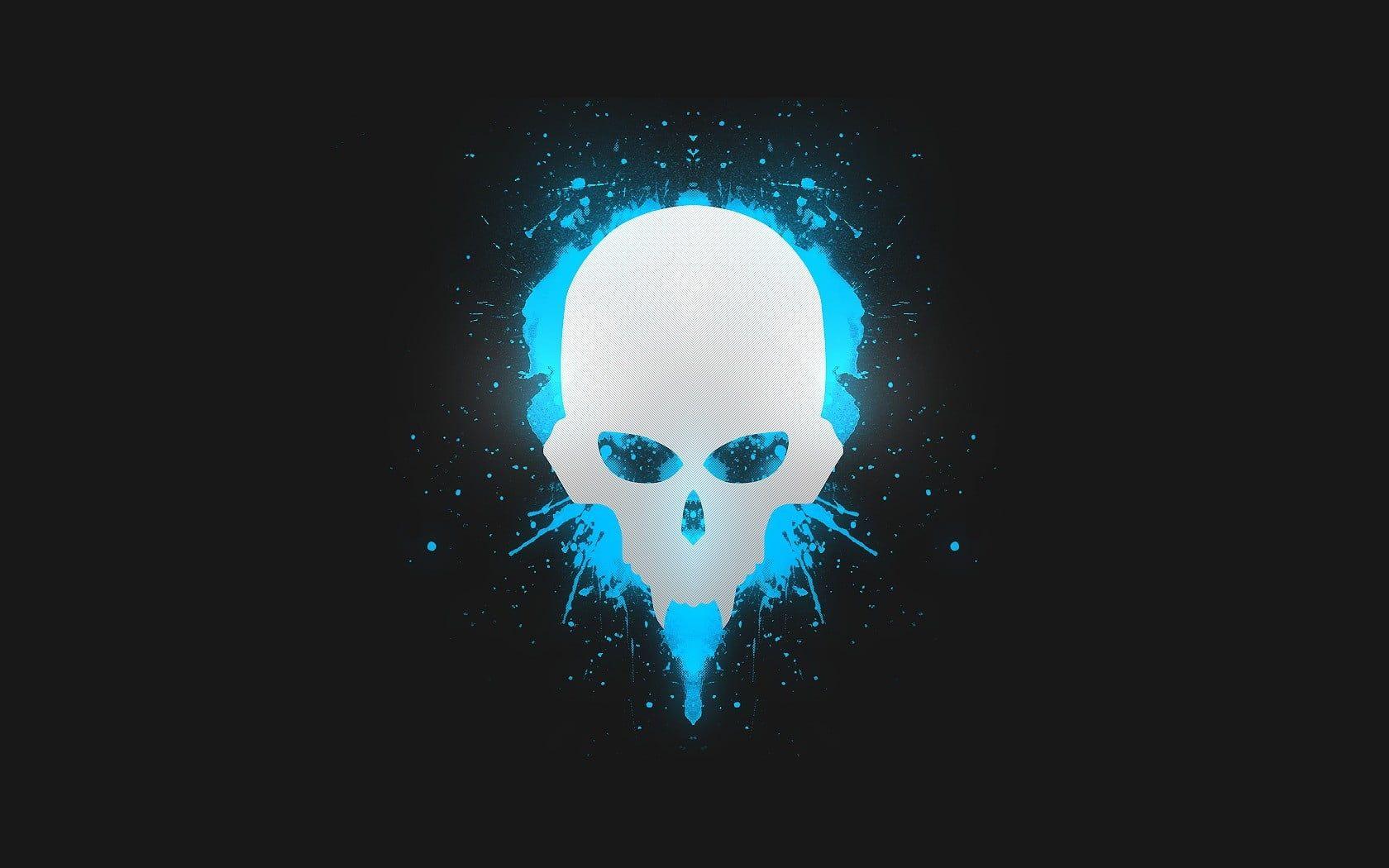 White Skull Illustration Skull Minimalism Pgc Gray Digital Art Cyan Simple Black Simple Background 720p Wallpap Skull Illustration Art Skull Wallpaper
