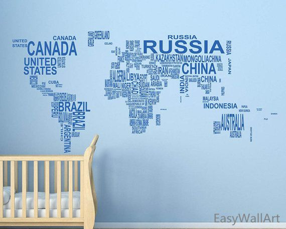 World Map Wall Decal World Map With Coutry Name Decal Worldmap
