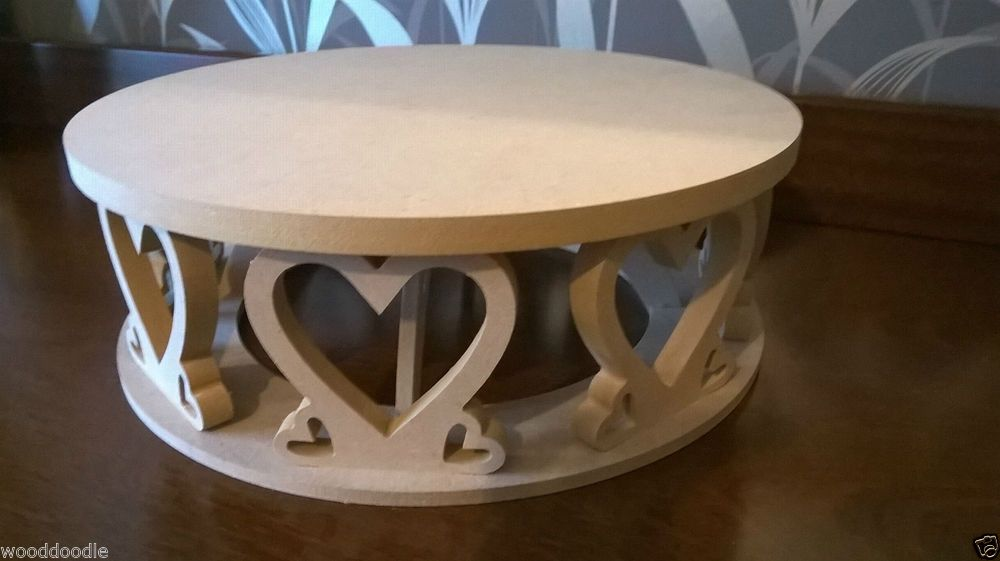 Heart shaped circular cake stand mdf craft decorate wedding wedding wooden centerpieces and table decor ebay junglespirit Image collections