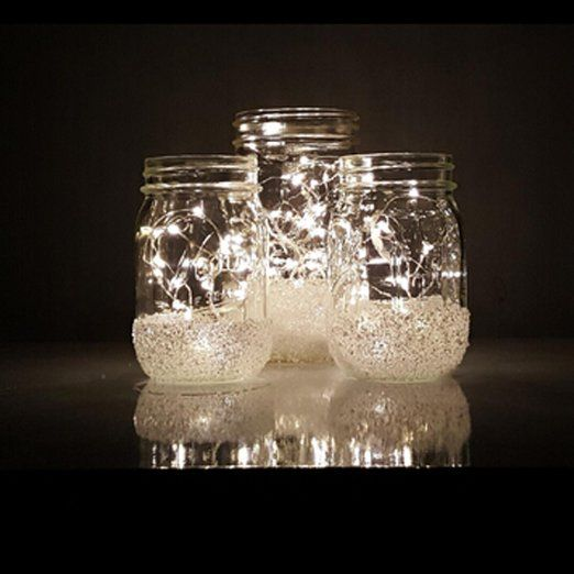 $8.19 via Amazon Prime for 1 set of 3 cords.  Each are 3' long, which will work better in mason jars.  Amazon.com: Pack of 3 sets LED Moon Lights 20 Micro Starry LEDs on Silver Extra Thin Copper Wire, 2 x CR2032 Batteries Required and Included, 3.5 Ft (1m) for DIY Wedding Centerpiece or Table Decorations (Pure White): Home Improvement