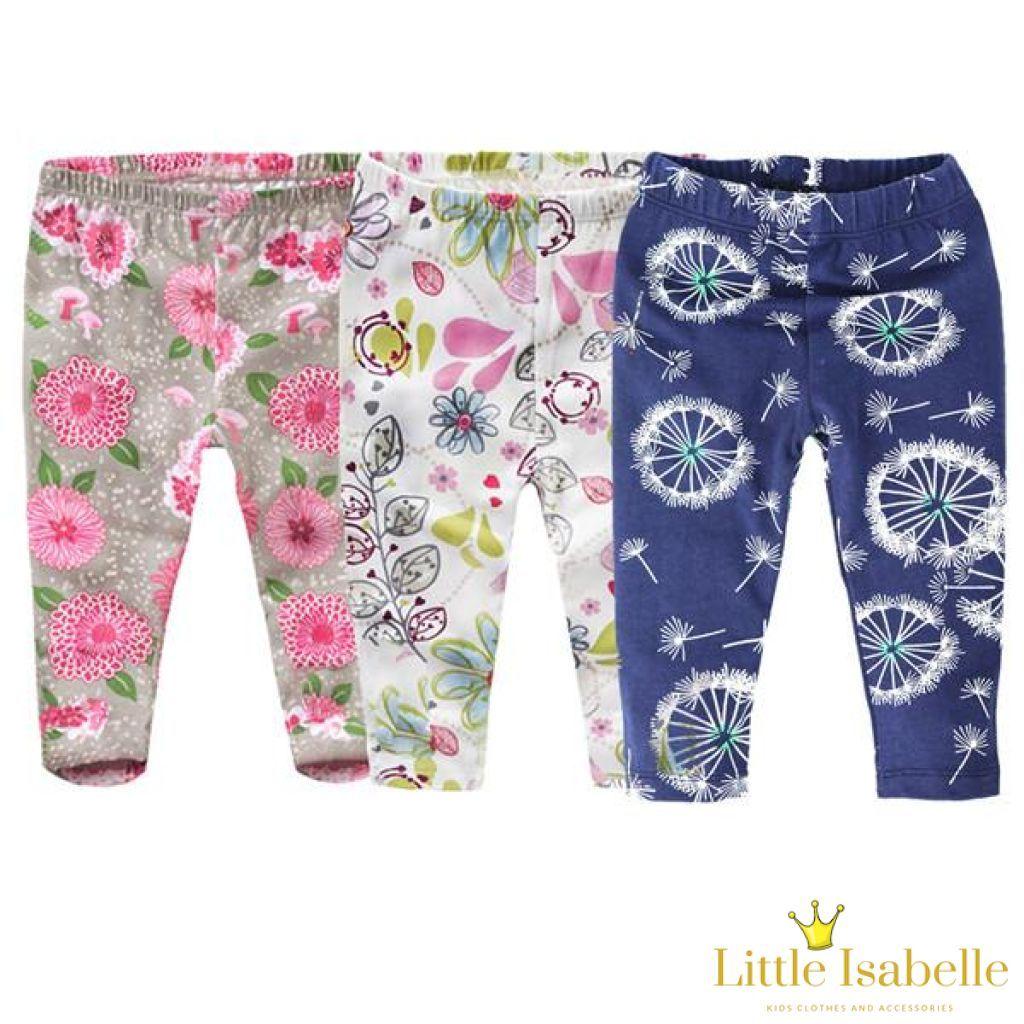 e3824ba0aa8de Toddler Girls Printed Full-Length Floral Boho Leggings (Set of 3 ...
