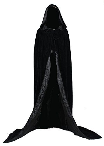 Your #1 Source for Halloween Costumes & Accessories » AngelWardrobe Halloween Hooded Cloak MEDIEVAL Various Colors Wedding Cape SCA Black-Black XXXL