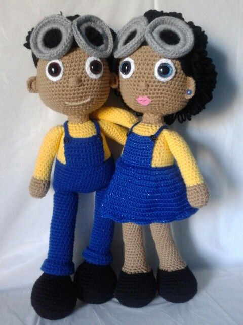 Crochet Minion Fans (Twins); both have their own removable goggles and minion hats!