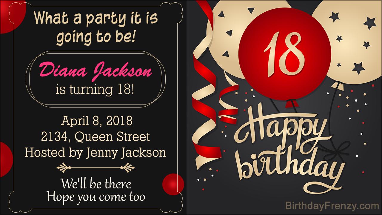 18th birthday invitation wordings