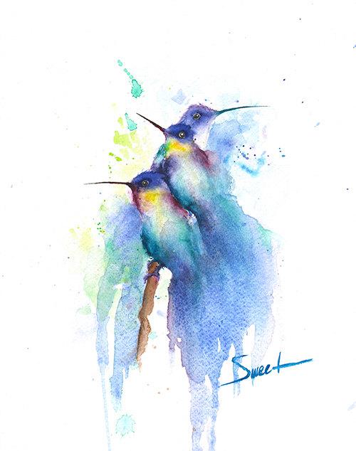HUMMINGBIRD CHARM   Watercolor Bird Painting, Hummingbirds, Bird Wall Art,  Animal Lover Gift, Bathroom Decor, Bird Lover, Bird Gift