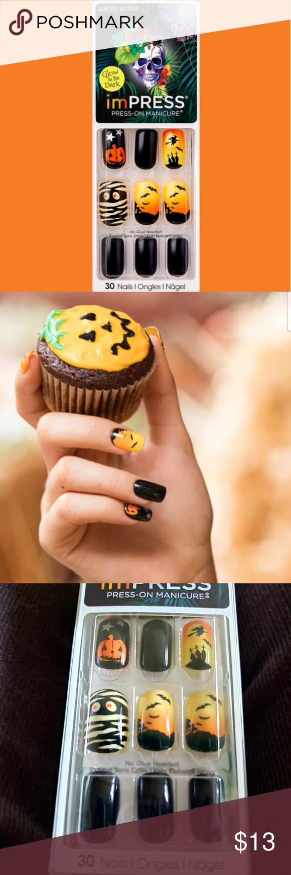 ImPRESS • PRESS ON Halloween Nails • GITD NWT   Halloween ...