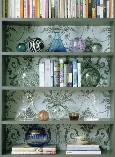styling your bookshelves - wallpaper behind - Jennifer Gray