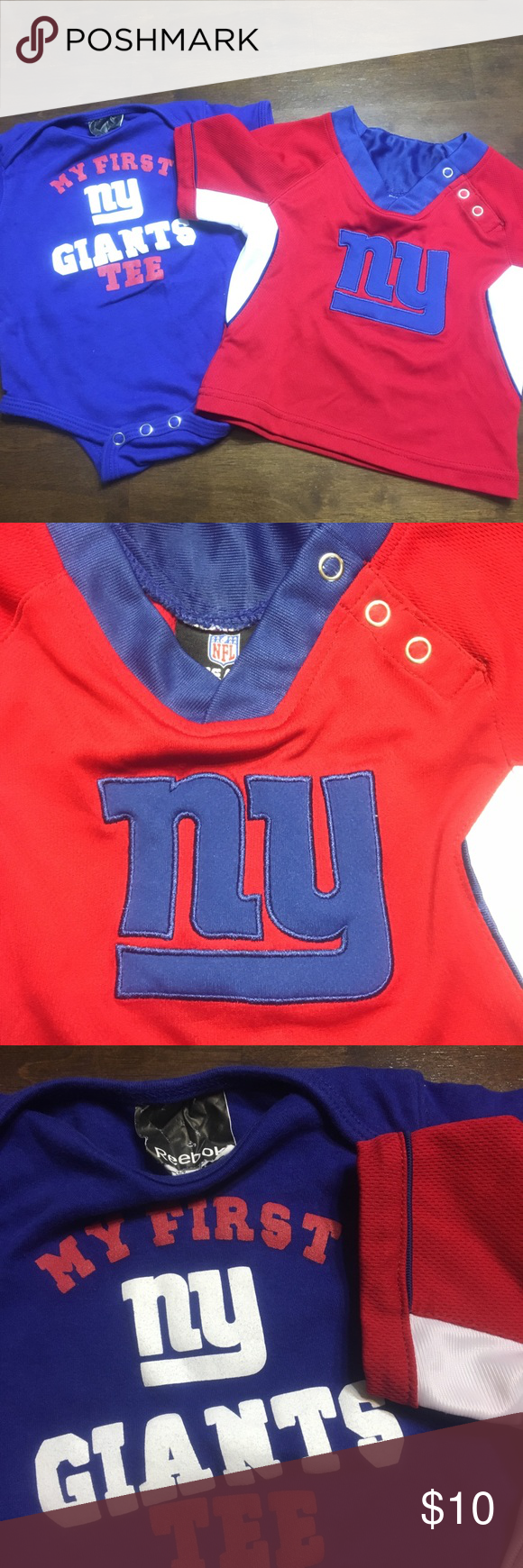 0fe881ee9 Boys New York Giants shirt Giants onesie Reebok brand size 6-9 months and jersey  NFL team apparel size 12months Reebok Shirts   Tops