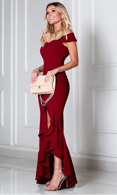 b51064edb4aa PRETTYGARDEN Women s 2018 Off Shoulder Side Split Slim Evening Maxi Party  Dress