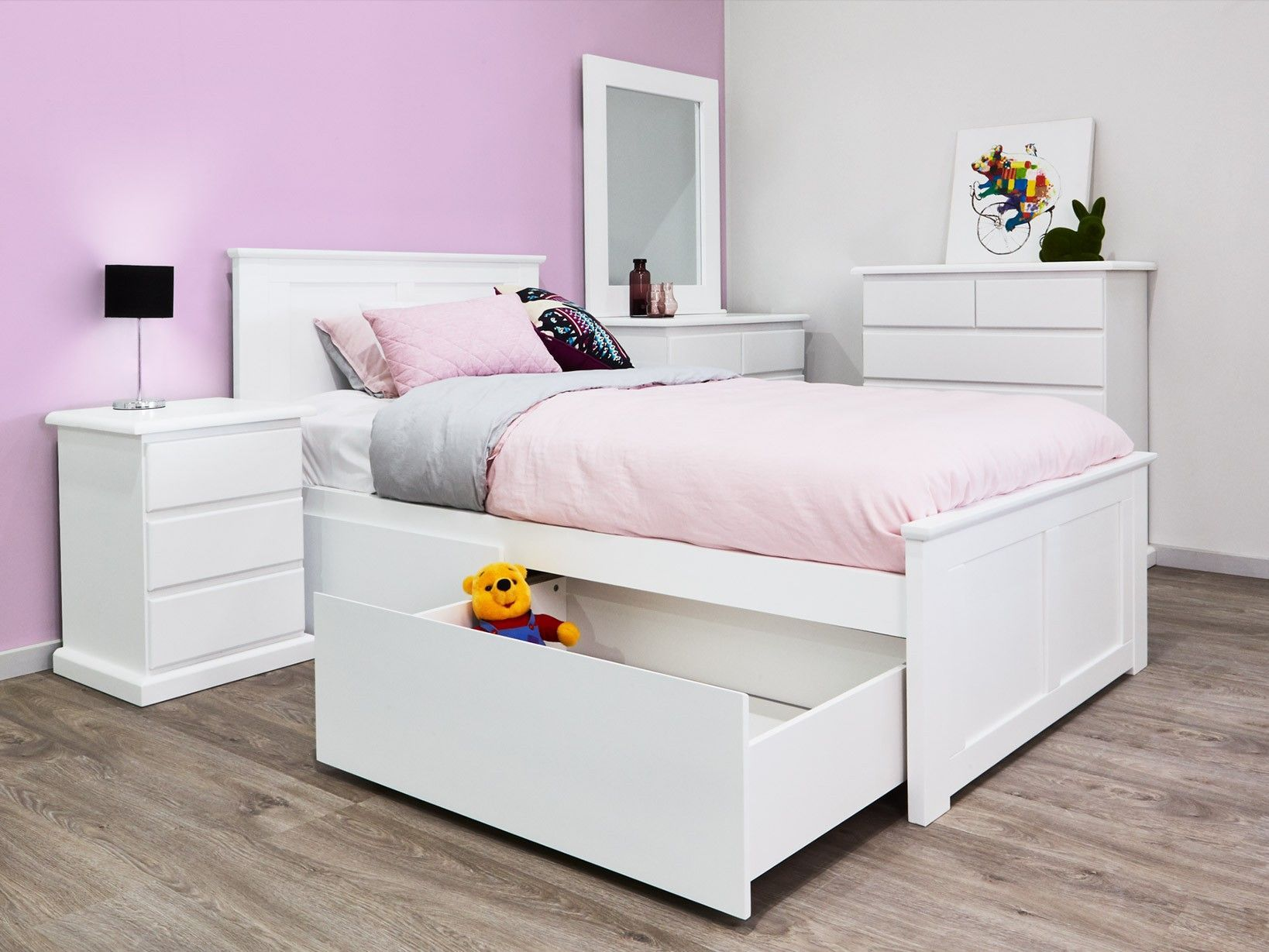Sale Hardwood White King Single Beds With Storage 50 Off Rrp