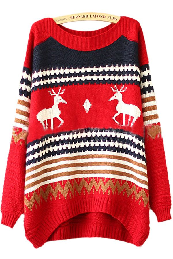 Red Tacky Reindeer Stripe Pattern Womens Christmas Xmas Sweater ...