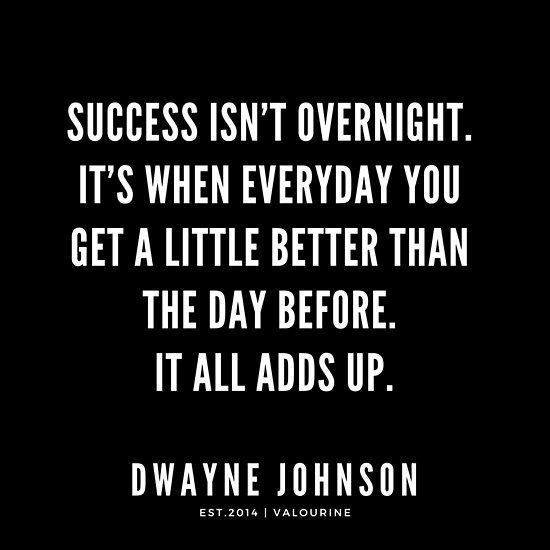 Success isn't overnight.    Dwayne Johnson Quotes   Poster by QuotesGalore