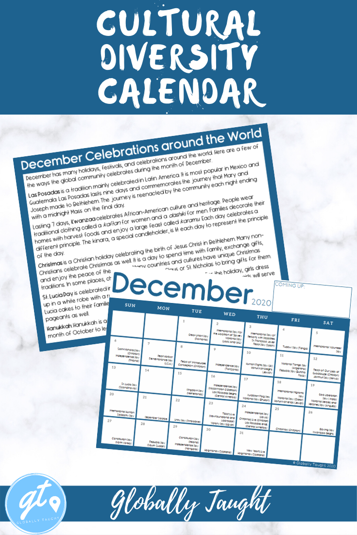 Cultural Diversity Calendar 2020 2021 Multicultural Holidays And Festivals In 2020 Cultural Diversity New Years Activities Country Studies